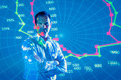 Businessman making presentation with projected financial data