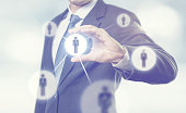 Businessman managing leadership group people icons. HR concept, Network Hierarchy