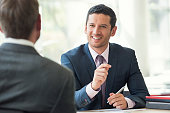 Businessman meeting with client