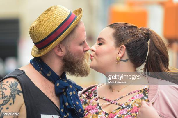 Businessman Nick Holliday and model Tess Holliday leave the 'AOL Build' taping at the AOL Studios on September 20 2017 in New York City