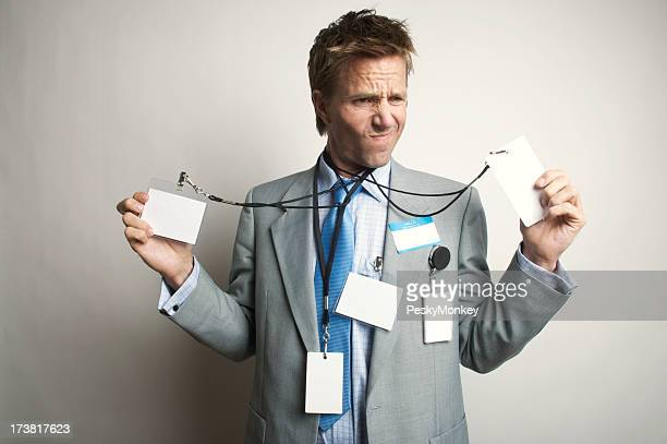 Businessman Office Worker Having an Identity Tag Crisis