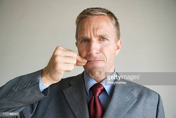 Businessman Office Worker Zips His Mouth to Keep Secret