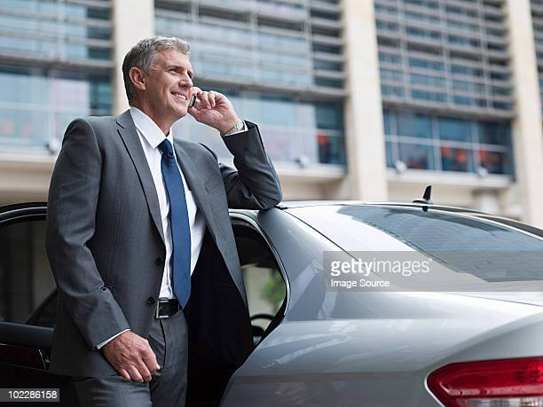 Businessman on cellphone by car
