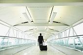 Businessman on motorized walkway in airport, rear view