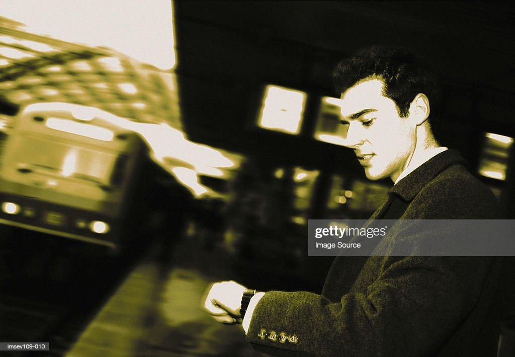 Businessman on platform : Stock Photo