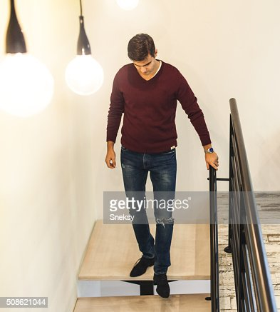 Businessman on the staircase. : Stock Photo