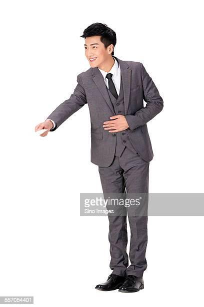 Businessman Passing a Business Card