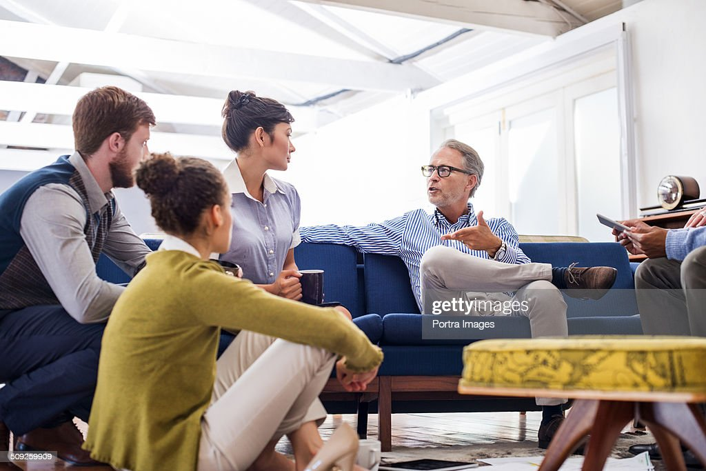 Businessman people discussing in creative office : Stock Photo