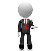 3D businessman with empty hand - great for topics like presentation, gift etc.