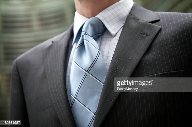 Businessman Pinstripe Suit Blue Tie Outdoors Close-Up