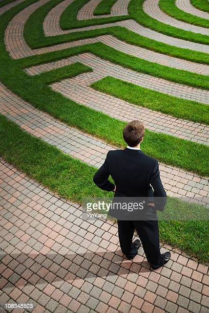 Businessman Planning Strategic Path and Problem Solving Corporate Business Maze