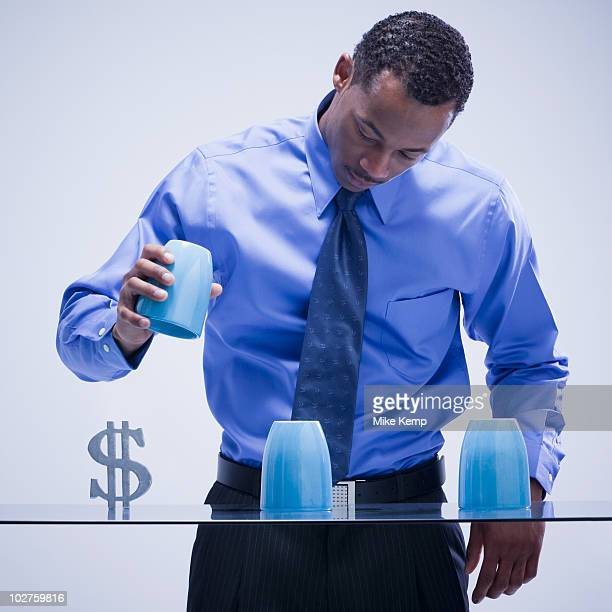 Businessman playing game of chance