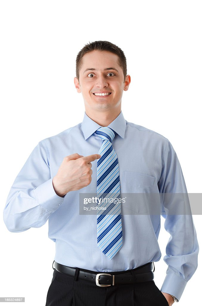 Businessman pointing at himself, isolated on white : Stock Photo