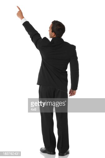 Businessman pointing rear view