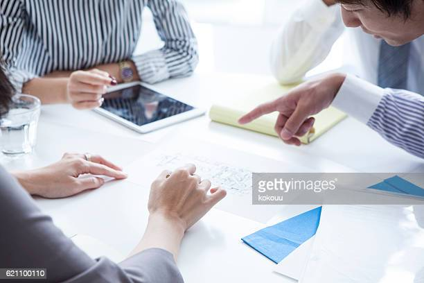 Businessman pointing to the documentation during the meeting