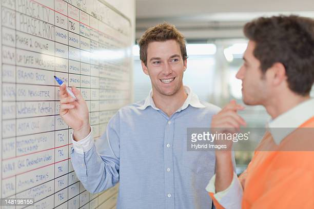 Businessman pointing to whiteboard