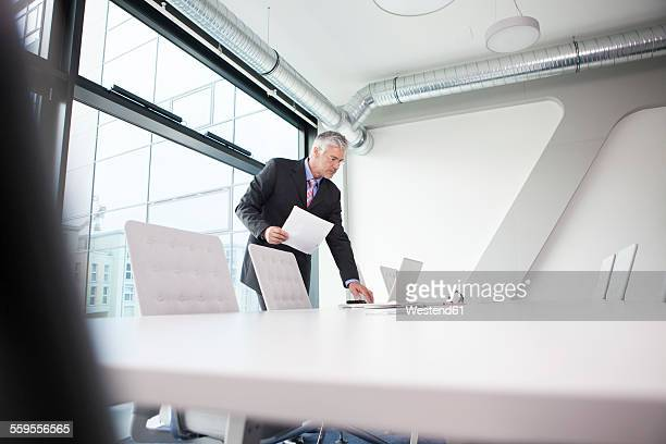Businessman preparing for conference