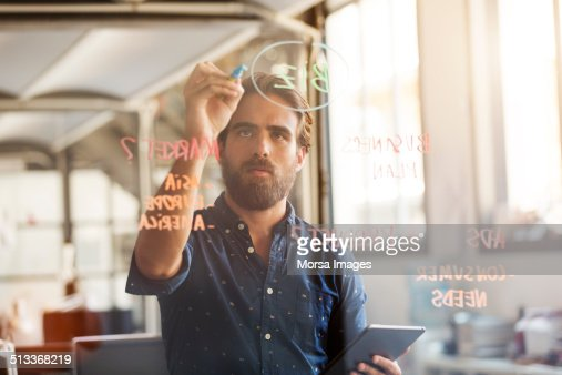 Businessman preparing plan on glass wall