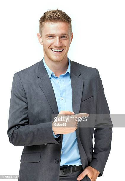 businessman presenting over white background