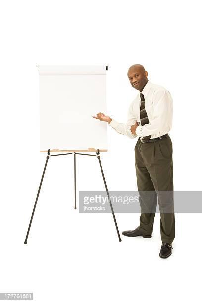 Uomo d'affari che presentano Cavalletto
