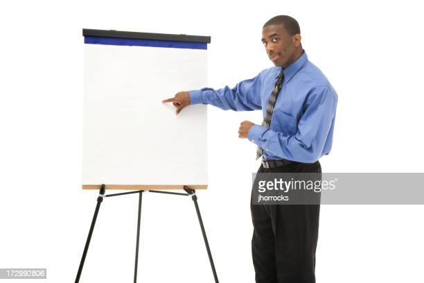 Homme d'affaires présenté avec Chevalet de peintre
