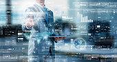 Businessman press on digital screen, digital layer effect, business strategy concept