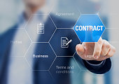 Businessman pressing contract on a digital screen, concept about agreement in business