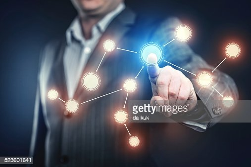 Businessman pressing social network button