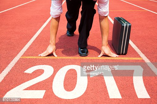 businessman ready to run and 2017 new year concept : Stock Photo