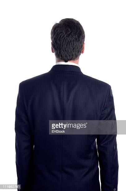 Geschäftsmann, Rückansicht, isoliert auf weißem Hintergrund