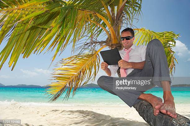 Businessman Relaxes in Palm Tree with Tablet Computer