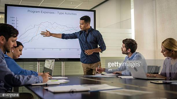 Businessman reporting his company's yearly revenue