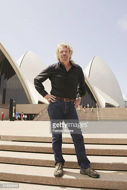 Businessman Richard Branson stands on the steps of the Opera on arrival for his press conference to introduce his new Virgin Atlantic airline venture...