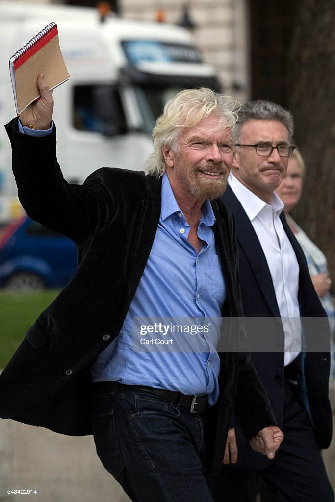 Businessman <a gi-track='captionPersonalityLinkClicked' href=/galleries/search?phrase=Richard+Branson&family=editorial&specificpeople=220198 ng-click='$event.stopPropagation()'>Richard Branson</a> (L) walks through Parliament Square on June 28, 2016 in London, England. Mr Branson has called for a second EU referendum after saying Brexit will push Britain towards a recession that will make it even more difficult to deliver essential public services.