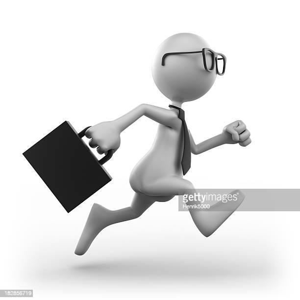 Businessman running, isolated with clipping path