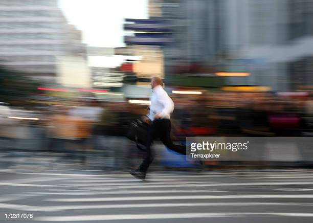 Businessman Running On Street, Blurred Motion