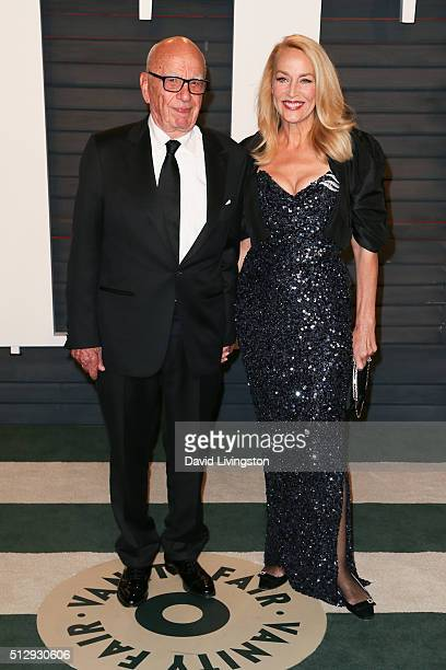 Businessman Rupert Murdoch and actress Jerry Hall arrive at the 2016 Vanity Fair Oscar Party Hosted by Graydon Carter at the Wallis Annenberg Center...