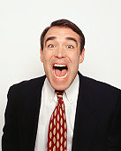 Businessman screaming, (Portrait)