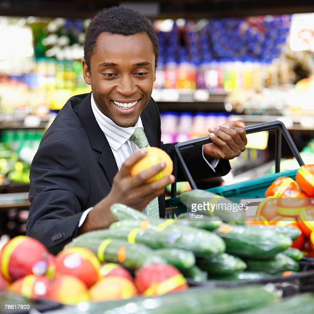 Businessman Shopping at Grocery Store
