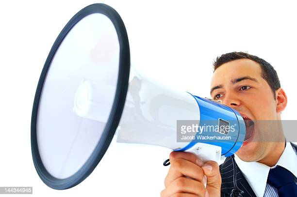 Geschäftsmann schreien in ein Megafon