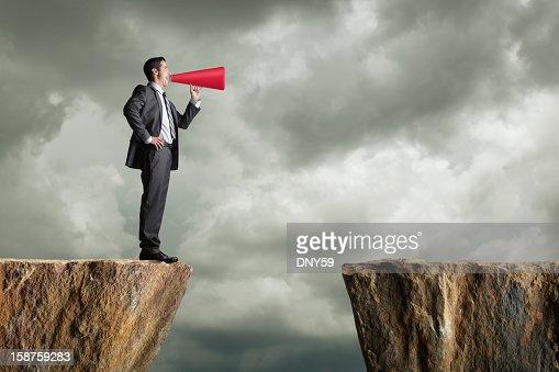 Businessman Shouting Into Megaphone : ストックフォト