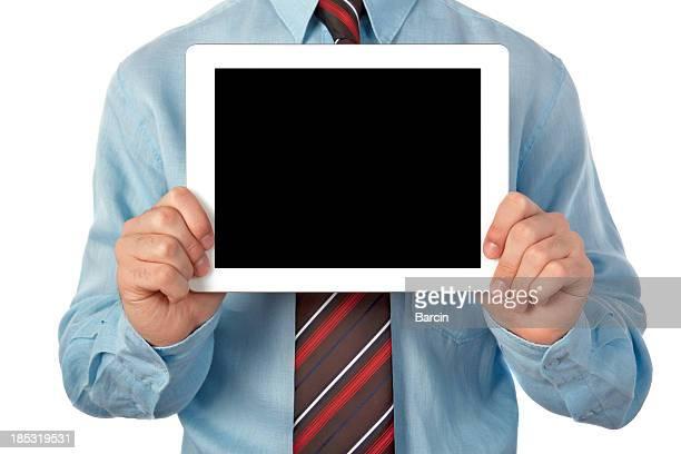 Businessman showing blank digital tablet