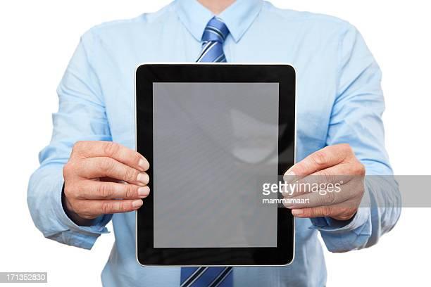 Businessman Showing Digital Tablet PC (Vertical)