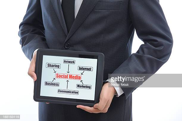 Businessman showing social media chart