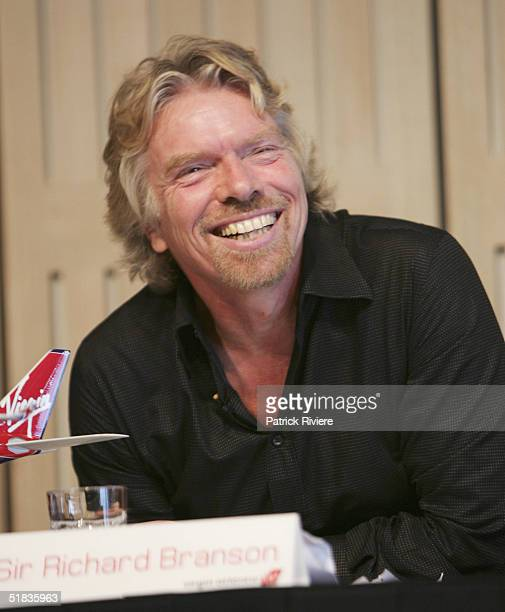 Businessman Sir Richard Branson attends a press conference to introduce the new Virgin Atlantic airline venture between London and Sydney at the...