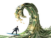 businessman slips surfing on a wave of money