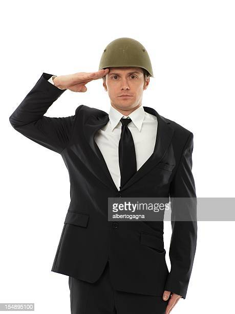 businessman soldier saluting