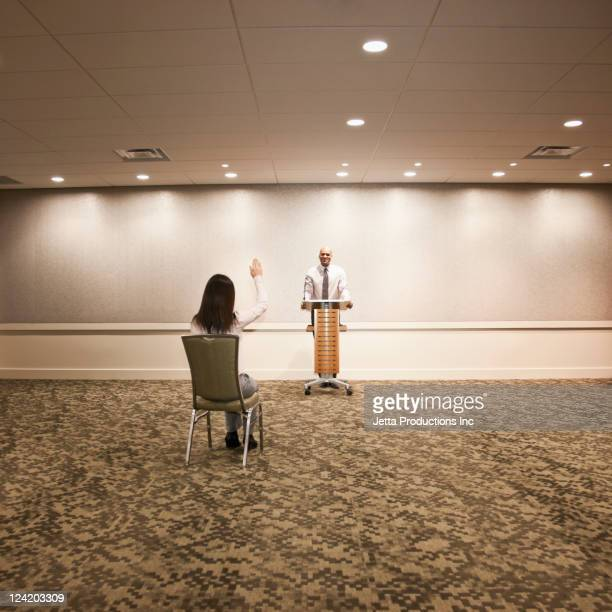 Businessman speaking to an audience of one