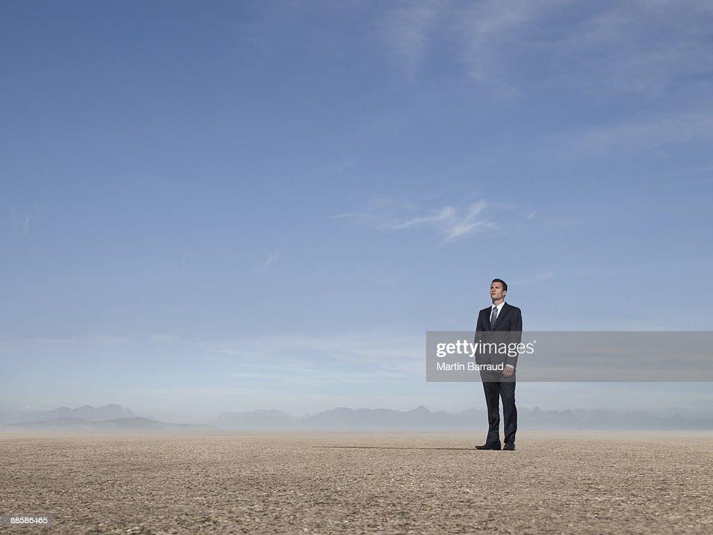 Businessman standing in desert : Stock Photo