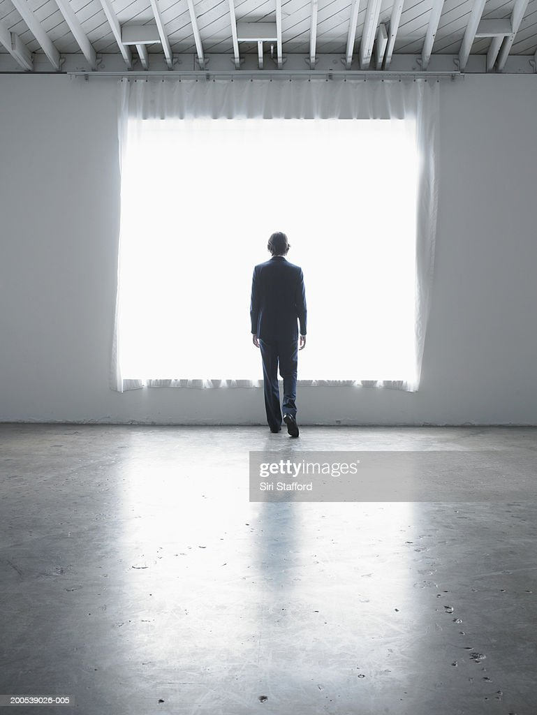 Businessman standing in front of projected screen, rear view : Stock Photo